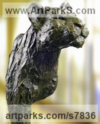 High quality foundry bronze Cats sculpture by Artist Vya titled: 'bronze Lion (bronze Lion sculpture statuette)'