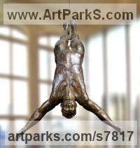 High Quality Foundry Bronze Swimmers Water Polo Divers Diving sculpture Statues sculpture by Artist Vya titled: 'Diver Plunging statue (Metal Man sculpture Bronze)'