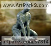High quality foundry bronze Primitive or Naive style Sculpture or Statuary sculpture by Artist Vya titled: 'nude Woman sculpture 2 (Little Tribal African Girl statue)'