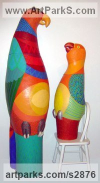 Adult with Young Animal Bird, Reptile or Amphibian, Fish Statues by sculptor artist Barbara Kobylinska titled: 'Good Parroting Baby and Mother (Colourful Parrott and Chick statues)' in Industrial extrusion terracotta