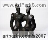Bronze -Resin Nude or Naked Couples or Lovers sculpture by Beatrice Hoffman titled: 'Etruscan Couple 2 (bronze resin Couple statues)'