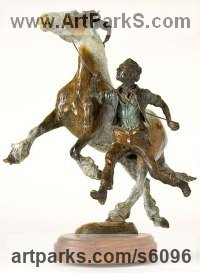 Bronze Animal Kingdom sculpture by Belinda Sillars titled: 'Appleby Fair (bronze Horse and Tinker Stable Boy Groom statue sculpture)'