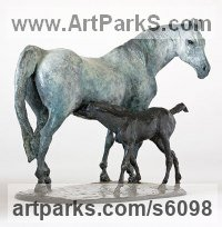 Bronze Animal Kingdom sculpture by Belinda Sillars titled: 'Isarose and Isamaizin (bronze Mare Suckling Foal statue statuette figu)'
