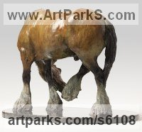 Bronze Horses Heavy / Working Shire, Plough, Dray, Barge, Horses Sculptures Statues statuettes commissions memorials sculpture by Belinda Sillars titled: 'Shire (Small Bronze Heavy Horse statuette statue sculpture Grooming)'
