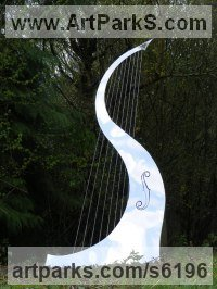 Stainless Steel Stringed Instruments Composers and Musicians Realistic and Abstract Sculptures Statues statuettes sculpture by Ben Dearnley titled: 'Song of the Wind (Big stainless Steel abstract garden Harp sculptures)'