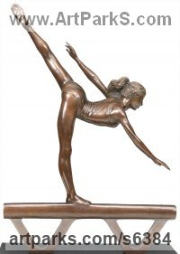 Bronze Balancing sculpture by Bill Prickett titled: 'Arabesque (female Gymnast sculpture statuette statue)'