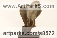 Bronze Wild Bird sculpture by Bill Prickett titled: 'Barn Owl with coloured patina'