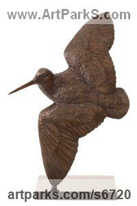 Bronze Birds in Flight, Birds Flying Sculptures or Statues sculpture by Bill Prickett titled: 'Flushed Woodcock (bronze sculpture/statue/statuette)'