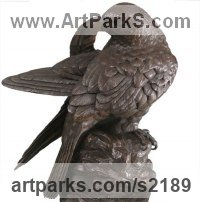 Bronze Wild Bird sculpture by Bill Prickett titled: 'Peregrine Falcon Preening (Bronze Perched Bird statue)'
