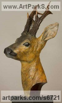 Bronze Painted Coloured Tinted Patinated Enamelled Sculptures Statues statuettes sculpture by Bill Prickett titled: 'Roe Buck bust (bronze life size Deer statue/sculpture)'