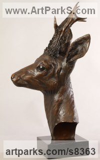 Bronze Wild Animals and Wild Life sculpture by Bill Prickett titled: 'Roe Buck bust (Bronze life size Deer statue/sculpture)'