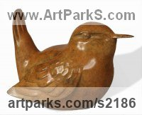 Bronze Small bird sculpture by Bill Prickett titled: 'Wren (bronze Perched life size statuettes statues)'