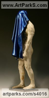 Stoneware Human Figurative sculpture by sculptor Bob Clyatt titled: '2011 (Little nude MaleDraped in Blue sculpture)'