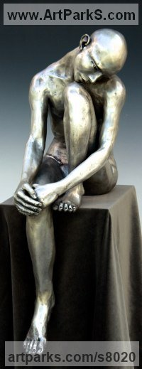 Bronze Human Figurative sculpture by sculptor Bob Clyatt titled: 'Seated Man Head on Knee (Sitting Male sculpture)'
