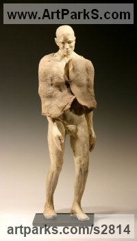 Ceramic on steel base Nudes / Male sculpture by sculptor Bob Clyatt titled: 'Shaman Standing (Raku Draped Male nude Man sculptures)'