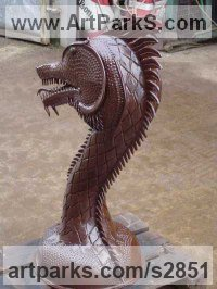 Monsters Sculpture by sculptor artist Bob Fuller titled: 'Dragon (Steel Metal Head or Bust garden/Yard sculpture)' in Steel