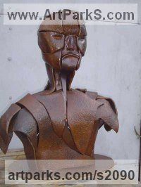 30 year old pitted steel Abstract Modern Contemporary Avant Garde Sculptures Statues statuettes figurines statuary both Indoor Or outside sculpture by Bob Fuller titled: 'Legionnaire (Half Metal Steel Bust Soldier statue)'