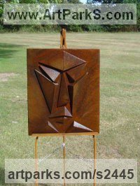 Steel Abstract Modern Contemporary Avant Garde Sculptures Statues statuettes figurines statuary both Indoor Or outside sculpture by Bob Fuller titled: 'Portrait of Planes (Bas Relief abstract Modern Face garden sculpture)'