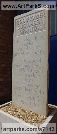 York Sandstone Carved and Engraved Lettering Writing Inscriptions Poems Quotations Carving Panels sculpture by Bobbie Fennick titled: 'Recipe (High Relief Raised Lettering stone statue)'