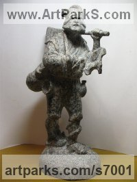 Granite Fairies Imps Trolls Gnomes Pixies Elves Goblins Hobgoblins Leprechauns Gremlins Elfs statuettess figurines Sculptures Statues sculpture by Boriss Ivanov titled: 'Capitano de Baroni (Miniature Folk Lore Pixie Male Fairy Tinker statue)'