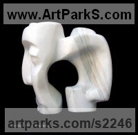 Marble Calacatta of Carrara Indoor Inside Interior Abstract Contemporary Modern Sculpture / statue / statuette / figurine sculpture by sculptor Bozena Krol Legowska titled: 'Amanti (Lovers) Little Carved abstract marble Faces statuettes'