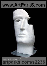 Marble of Carrara - base steel plate Human Form: Abstract sculpture by sculptor Bozena Krol Legowska titled: 'Paganini (abstract Mask marble Face Indoor sculptures)'