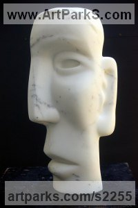 Marble of Carrara, base beaten Glass Abstract Contemporary or Modern Outdoor Outside Exterior Garden / Yard sculpture statuary sculpture by sculptor Bozena Krol Legowska titled: 'Polluce (Carved stone Stylised Head/Bust)'