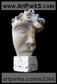 Travertin Abstract Modern Contemporary Avant Garde Sculptures Statues statuettes figurines statuary both Indoor Or outside sculpture by Bozena Krol Legowska titled: 'The Face and Cube (Stylised Face/Head/Bust statues)'