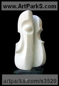 Stringed Instruments Composers and Musicians Realistic and Abstract Sculpture Statues statuettes by sculptor artist Bozena Krol Legowska titled: 'Violin Diverted (Carved Modern Violin marble sculptures)' in Marble of carrara