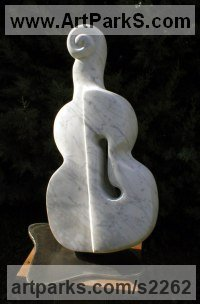 Stringed Instruments Composers and Musicians Realistic and Abstract Sculpture Statues statuettes by sculptor artist Bozena Krol Legowska titled: 'Violino Violato (Violin Voilated) (Stylised abstract Modern Carving)' in Marble of carrara, base steel