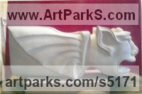 Cream Sandstone Grotesque Sculptures / Statues / figurines to order Commission Custom Bespoke sculpture by Brad Steele titled: 'Medieval Grotesque (stone Carved Commission Statuary Carving statue)'