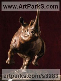 Bronze Endangered Animal Species sculpture by sculptor Brandon Borgelt titled: 'Black Rhino Charge (Small/little Bronze Rhinoceros statue/statuette)'