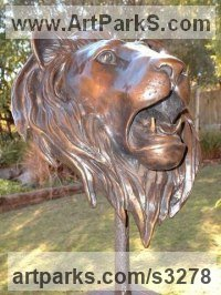 Bronze Cats Wild and Big Cats sculpture by sculptor Brandon Borgelt titled: 'Lion Bust (Bronze Male Roaring Portrait Face/Head/Mask sculpture/statue)'