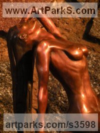 Bronze Nudes, Female sculpture by sculptor Brandon Borgelt titled: 'Summertime nude (Bronze Perfect Woman sculptures)'
