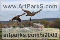 Water Birds / Water Fowl / Seabirds / Waders by sculptor artist Brett Davis titled: 'Canada Geese (Semi abstract bronze Flying Water Fowl sculptures/statue)' in Bronze