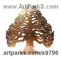 Copper & Brass Memory Tree Memorial Tree sculpture statue sculpture by Bronwen Glazzard titled: 'Eternal Tree (with a starter pack of 50 engravable leaf plaques)'