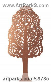 Copper and Brass Varietal cross section of Floral, Fruit and Plantlife sculpture by Bronwen Glazzard titled: 'Hornbeam Tree No.2 (with a starter pack of 50 engravable leaf plaques)'