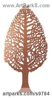 Copper and Brass Wall Mounted or Wall Hanging sculpture by Bronwen Glazzard titled: 'Hornbeam Tree No.1 (with a starter pack of 50 engravable leaf plaques)'