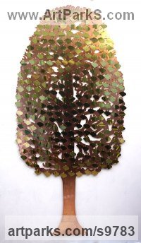 Copper and Brass Wall Mounted or Wall Hanging sculpture by Bronwen Glazzard titled: 'Hornbeam Tree No.3 (with a starter pack of 50 engravable leaf plaques)'