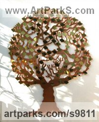 Copper and brass Wall Mounted or Wall Hanging sculpture by Bronwen Glazzard titled: 'Love Tree (Wall Donor Subscribor Contributor statue)'