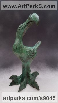 Bronze Small bird sculpture by Bruce Hardwick titled: 'Dodo - Chick (Small Comic Amusing Smiling sculpture)'