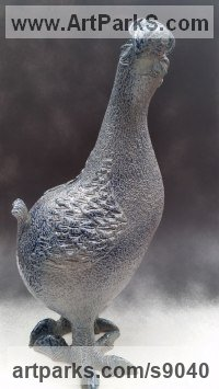 Ceramic Wild Bird sculpture by Bruce Hardwick titled: 'Dodo - Blue Salt Glaze (ceramic Amusing Fun statuette)'