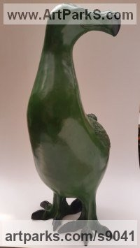 Bronze Wild Bird sculpture by Bruce Hardwick titled: 'Dodo - Large Dark Green (Smiling Standing sculpture)'