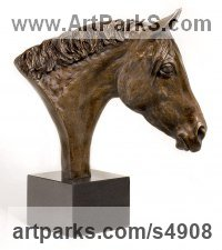 Bronze Horse Sculpture / Equines Race Horses Pack HorseCart Horses Plough Horsess sculpture by sculptor Camilla Le May titled: 'Anglo Arab cross Warmblood Bust (Horse sculptures)'
