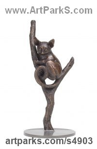 Bronze African Animal and Wildlife sculpture by sculptor Camilla Le May titled: 'Bush Baby (Bronze Climbing Tree Branch statuette sculptures For Sale)'