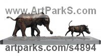 Bronze African Animal and Wildlife sculpture by sculptor Camilla Le May titled: 'Baby Elly chasing wart Hog (Elephant Calf sculptures)'