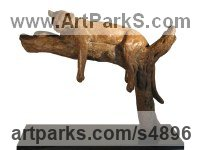 Bronze Cats Wild and Big Cats sculpture by Camilla Le May titled: 'Leopard on Branch (Small Bronze Resting Prostrate statue/statuette)'