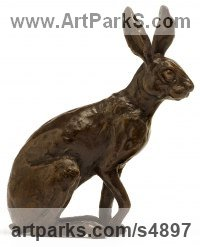 Bronze Hares and Rabbits sculpture by Camilla Le May titled: 'Little Hare (Bronze sitting Alert in March statuette/sculpture/ornament)'