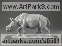 Bronze Endangered Animal Species sculpture by Camilla Le May titled: 'Nicky Baby Black Rhino (Small Young Rhino Calf statue)'