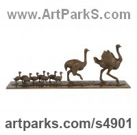 Bronze African Animal and Wildlife sculpture by Camilla Le May titled: 'Ostrich Family (Small Bronze Walking sculptures/statuettes/figurines)'